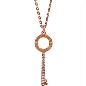 Michael Kors Pave Key Pendant Rose Gold Necklace